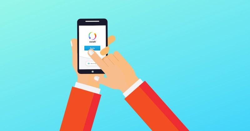 En grafisk bild på en mobil som swish.